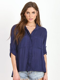 Bella Dahl Split Back Button Down Shirt Navy
