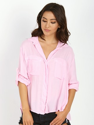 Bella Dahl Split Back Button Down Shirt Rose Water