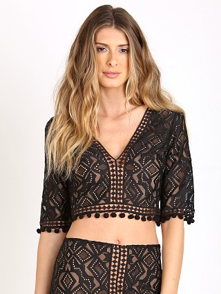 For Love & Lemons Florence Crop Top Black