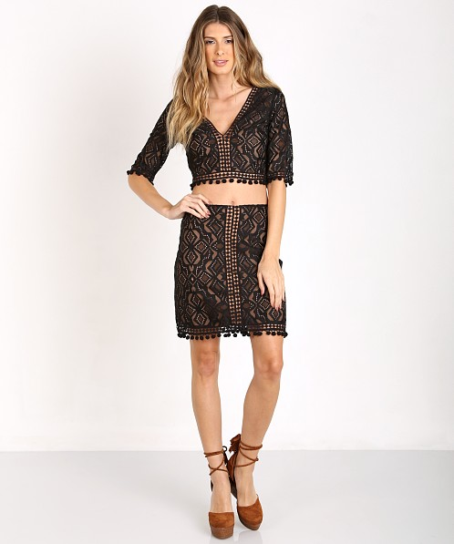 14da08d836a For Love & Lemons Florence Crop Top Black T1246L - Free Shipping at Largo  Drive