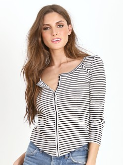 Free People Striped Thermal Stars and Stripes Top