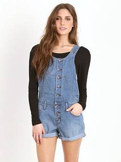 Free People Century Denim Button Front Shortall Willow