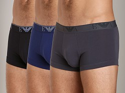 Emporio Armani Stretch Cotton 3-Pack Trunk Black/Blue/Charcoal
