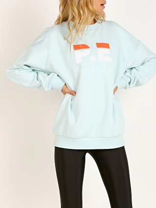 PE NATION Heads Up Sweater Blue Mint and White