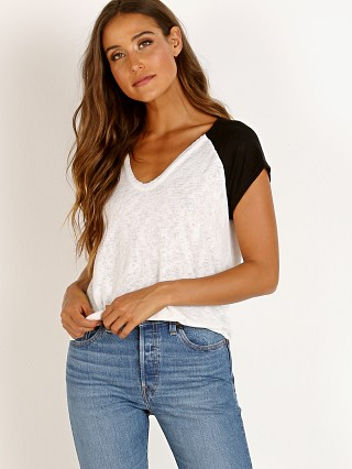 LNA Clothing Blithe Two Tone Tee White With Black