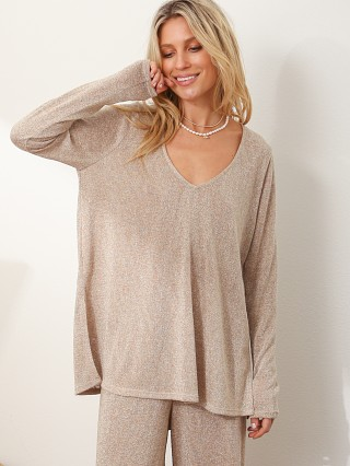 Model in gold sparkle knit Show Me Your Mumu Clark Tunic Top