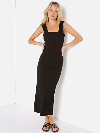 Model in black Stillwater The Square Neck Rib Dress