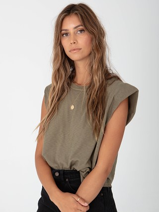 Model in olive Stillwater Strong Shoulder Tank