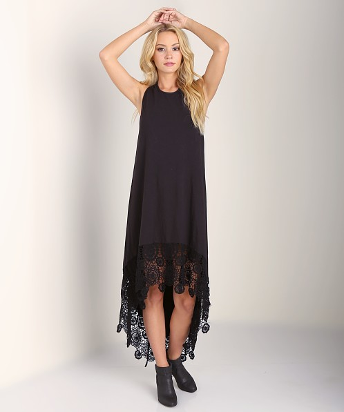 Nightcap Crochet Hanalei Dress Black