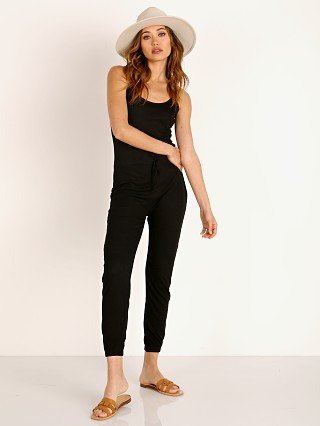 Model in black LNA Clothing Christine Ribbed Jumpsuit