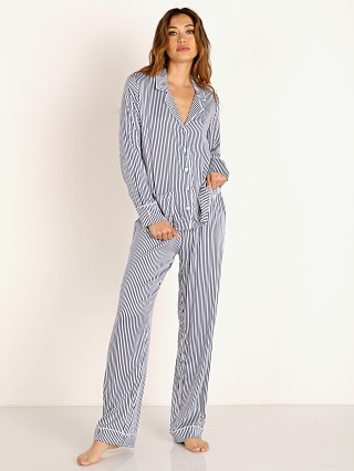Model in heavenly stripe Splendid Notch Collar PJ Set