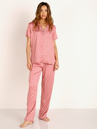 Model in dusty rose dot Splendid Notch Collar PJ Set
