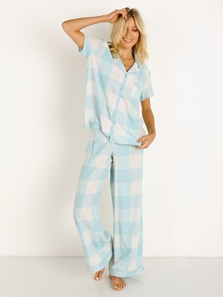 Model in sea angel buffalo plaid Splendid Notch Collar PJ Set