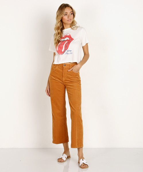 0ce4e29c6706d Daydreamer Rolling Stones '89 Rebel Crop Tee Vintage White T112UROL783 - Free  Shipping at Largo Drive
