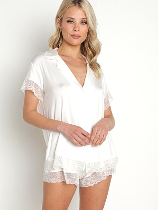 Model in ivory Eberjey Malou Short Sleeve PJ Set With Lace