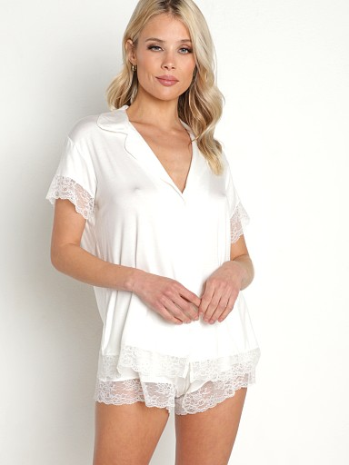 Eberjey Malout Short Sleeve PJ Set With Lace Ivory