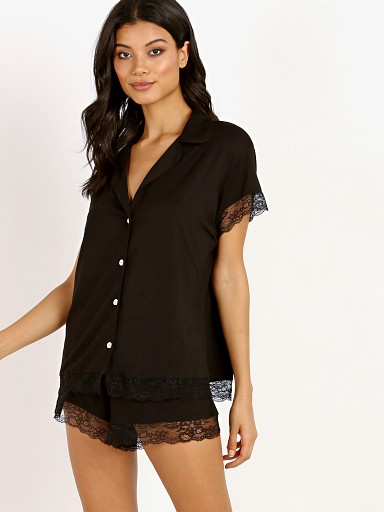 Eberjey Malout Short Sleeve PJ Set With Lace Black