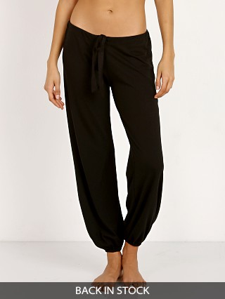 Model in black Eberjey Heather Cropped Pant