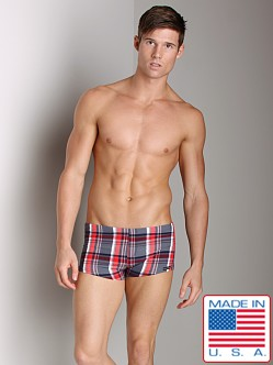 Sauvage Plaid Square Cut Swim Trunk Navy