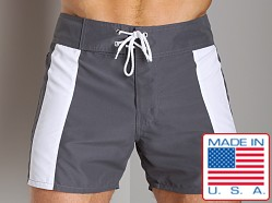 Sauvage Italian Nylon Boardwalk Surf Short Charcoal