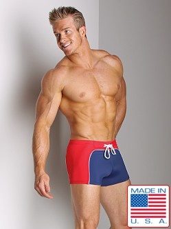 Sauvage Contoured Square Cut Swim Trunks Navy/Red