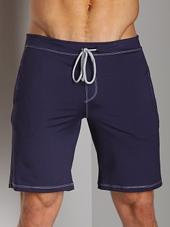 Sauvage Low Rise Nylon/Lycra Workout Short Navy