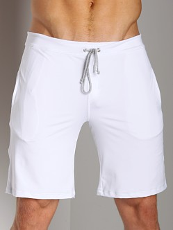 Sauvage Low Rise Nylon/Lycra Workout Short White