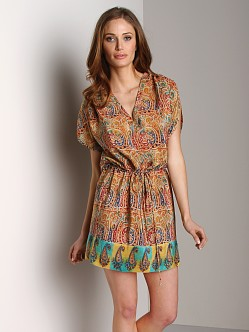 Tolani Anna Tunic Dress Orange Paisley