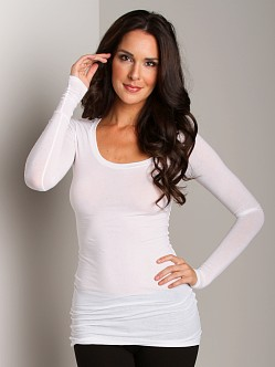 Splendid Stretch Long Sleeve Top White