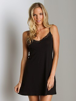 Only Hearts Organic Lace Trimmed Chemise Black