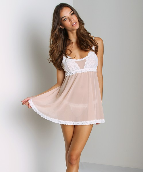 Hanky Panky Babydoll with G-String Buff/Marshmallow