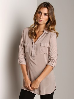 Splendid Shirting Long Sleeve Top Almond