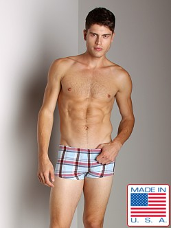 Sauvage Plaid Square Cut Swim Trunk Powder