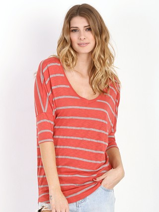 Splendid Long Sleeve V Neck Tunic Red Canyon