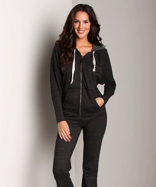 Splendid Active Always Long Sleeve Zip Up Black