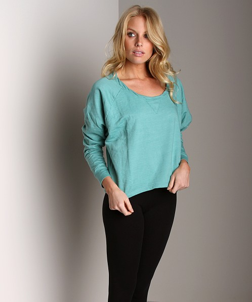 Splendid Active Always Cropped Twist Neck Sweater Jade