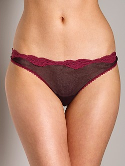 Only Hearts Tulle Low Rise Lace Thong Plum/Wine