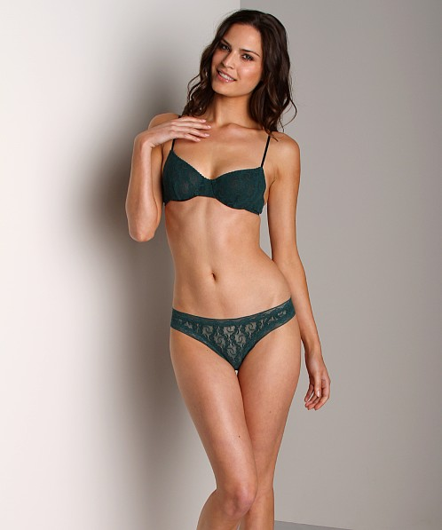 Only Hearts Stretch Lace Low Rise Thong Forest Green