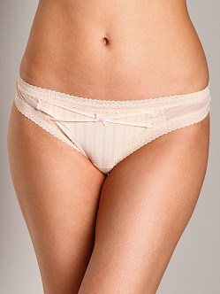 Betsey Johnson Zipper Stripe Low Rise Thong Sugar Cookie