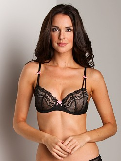 Betsey Johnson Eyelet Lace Demi Bra Black Raven