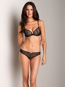 Betsey Johnson Eyelet Lace Low Rise Thong Black Raven