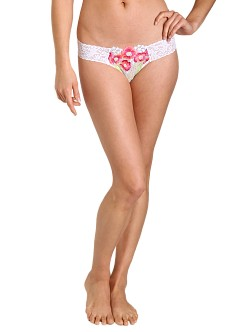 Hanky Panky Embroidered Mesh Low Rise Thong Neon-White