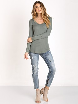 Splendid U Neck Thermal Tunic Aluminum
