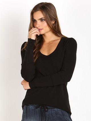 Splendid U Neck Thermal Tunic Black