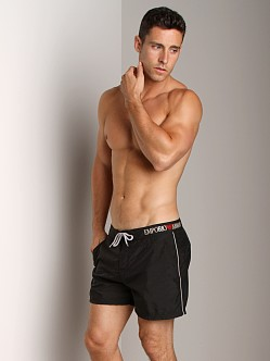 Emporio Armani Piping & Logo Techno Swim Shorts Black