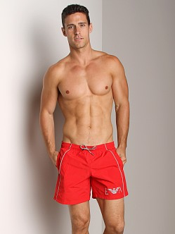 Emporio Armani Seven Stripes Techno Swim Shorts Red