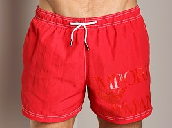 Emporio Armani Logo Techno Swim Shorts Red