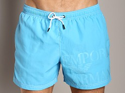 Emporio Armani Logo Techno Swim Shorts Sky Blue