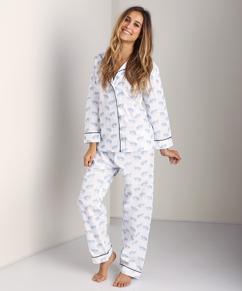 Marigot Leopard Long Pajama Set Powder Blue