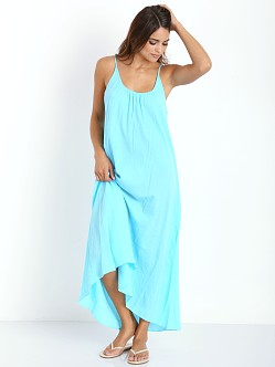 9seed Tulum Long Cover Up Dress Aqua